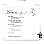 Menu for Meat in Space night